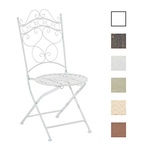 CLP Eisenstuhl Indra im Jugendstil I Antiker handgefertigter Gartenstuhl I erhältlich Weiß