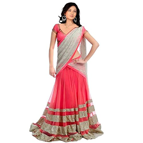 Crazy Fab Deal Women's Lace work Pink Lehenga Choli (Color: Pink Free...