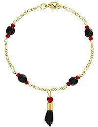 45dfeb286fdb In Season Jewelry - Chapado en Oro 18k Mano de Figa Azabache Simulado  Brazalete de Protección