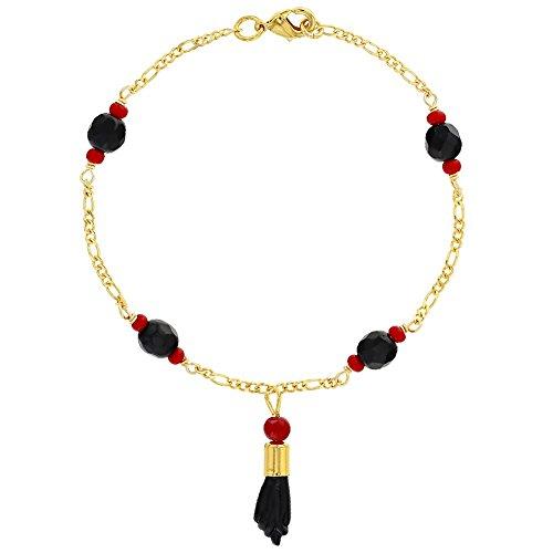 f3fc179dcce6 In Season Jewelry - Chapado en Oro 18k Mano de Figa Azabache Simulado  Brazalete de Protección