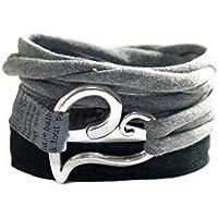 Wickelarmband Letter in schwarz und grau - breites Stoffarmband mit Herz - onesize - endlos