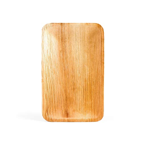 Premium Palmblatt Teller rechteckig   Einwegteller   Bio Einweg Geschirr   Palmblattgeschirr   25 Stück   24 x 15 cm   100% biologisch abbaubar und kompostierbar   umweltfreundlich und stilvoll
