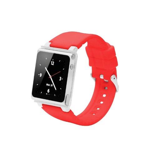 ares Sport Uhrenarmband für Ipod Nano 6.Generation,Aluminiumgehäuse,Silikongürtel,Ipod Nano 6th Watch Band,Handschlaufe für iPod Nano 6G(OEM)(Rot) ()