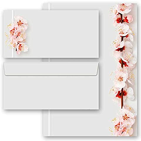 100-pc. Complete Motif Letter Paper-Set CHERRY BLOSSOMS 50 sheets of stationery paper + 50 matching envelopes DIN LONG windowless