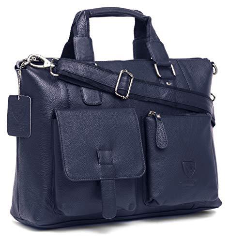 J Wilson London Umhängetasche/Messenger Bag, echtes Nappaleder, 38,1 cm (15 Zoll) Laptop, handgefertigt, Unisex Blau blau Large - Nappa-leder-computer-aktentasche