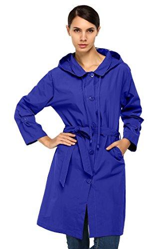 CRAVOG Damen Regenmantel Regenjacke Raincoat Wasserdicht mit Kapuze Jacken Mäntel Dunkelblau