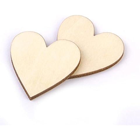 FENICAL 50 Piezas Corazón en Madera Bricolaje Rodajas de Madera Adornos Decoración de Boda Fiestas 40mm