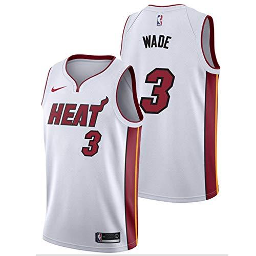 Unbekannt LT Sports Dwyane Wade,#3, Miami Heat Herren-Basketballtrikot atmungsaktiv schnell trocknende Weste Klassische Farbe White-M Dwyane Wade Jersey