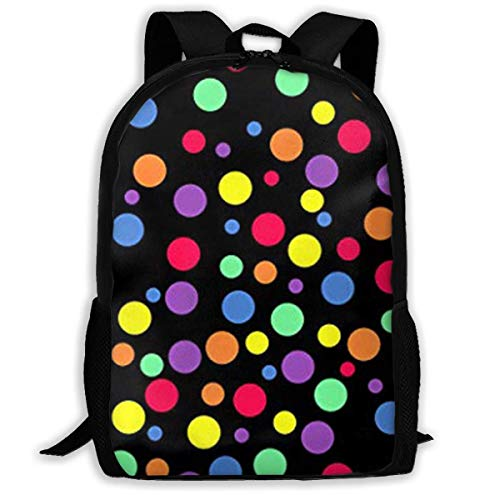 sghshsgh Schultaschen Schule Multicolor Dots Printed Casual Backpack Briefcase Laptop Travel Hiking School Bags Multipurpose Travel Daypack for Adult Carry on Duffle -