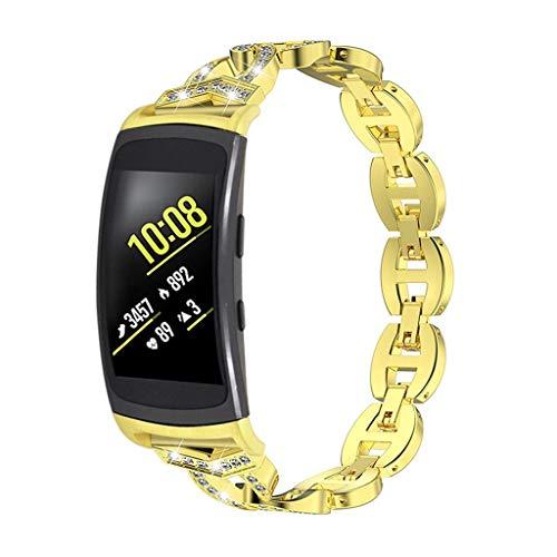Upxiang Armband Kompatibel für Samsung Gear Fit 2/Gear Fit 2 Pro Metall Ersatz Waist Band Strap Verstellbar Strass Uhrenarmband Business Armbänder für Samsung Gear Fit 2/Gear Fit 2 Pro (Watch Gear 2 Metal Band)