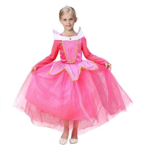 Vestito abito principessa costume ragazza frozen bambina principessa vestito carnevale tulle diadema cosplay compleanno carnevale abito ragazze belle disney costumi vestire beauty top (rosa, 8-9 anni)