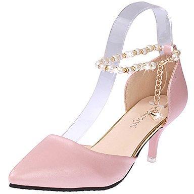 Talloni delle donne Estate Comfort similpelle esterna tacco basso Pearl Buckle Blushing Rosa Nero Bianco US8 / EU39 / UK6 / CN39