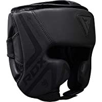 RDX Headguard Boxing Training MMA Fighting Headgear   Matte Black ConvEX Skin Leather Muay Thai Face & Ear Protector   Great for Martial Arts, Sparring, Kickboxing, UFC, BJJ, Karate