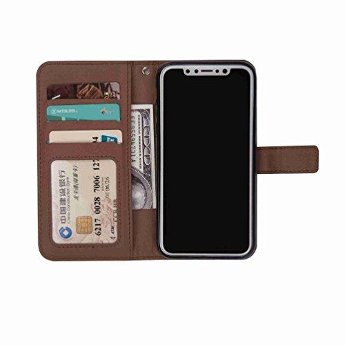 inShang Custodia per iPhone X 5.8 inch con design integrato Portafoglio, iPhoneX 5.8inch case cover con funzione di supporto. dark brown