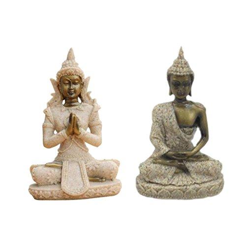 Sharprepublic 2X Arenisca Maitreya Buda Estatua De