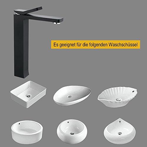 Homelody – Zeitgenössische Waschtischarmatur, Einhebel, ohne Ablaufgarnitur, hoher Auslauf, Schwarz - 5