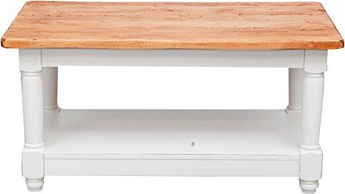 Table à rallonge style champêtre en bois massif de tilleul avec structure antique blanche et plan en finition naturelle L90xPR50xH45 cm