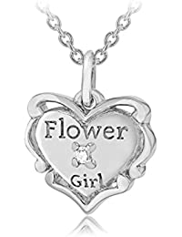 Lily and Lotty Kinder-Kette mit Anhänger Silver Rhodium plated Fleur Heart pendant on trace chain hand set with a diamond. 925 Silber Diamant (0.001 ct) transparent Rundschliff 41 cm - 0.01.0483
