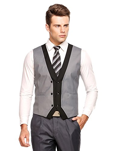 Coofandy Mens Formal V Neck Sleeveless Double Breasted Slim Business Vests