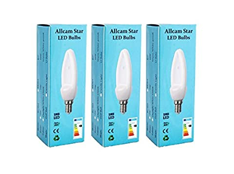 3 Pack Allcam Star 4W SES E14 LED Candle Bulb LED Lights, Ultra Bright 350 lumen, 3000K Warm White, 330° Beam Angle, replaces old 40W Lamp Light Bulbs