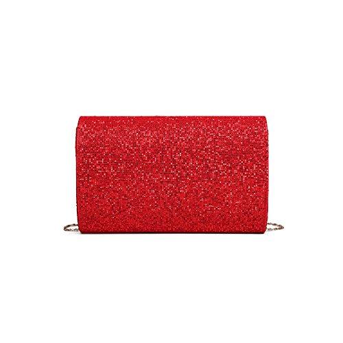 943153d092b97 ... Miss Lulu Glitzer Clutch Bag Elegante Kettentasche Damen Tasche  Handtasche Hochzeit Abendtasche Umhängetasche glitzernd (LH1801 ...
