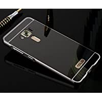 TAITOU ZenFone 3 ZE520KL Mirror Case, Shiny Awesome Make-up Mirror Plated Aluminum Metal Frame Bumper Slim Cover, Cool 2 in 1 Ultralight Thin Phone Case For ASUS ZenFone3 ZE520KL Black