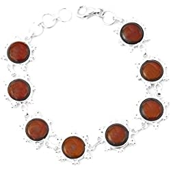 Exotic India Gemstone Bracelet - Sterling Silver - Color Carnelian