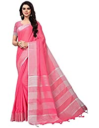Applecreation Women'S Linen Silk Saree With Blouse Piece (Light Pink_Free Size )