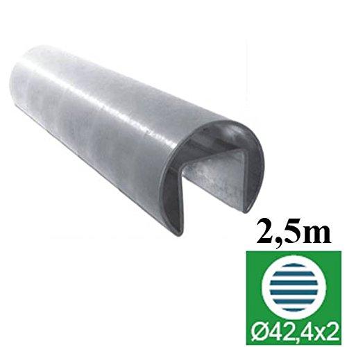 2,5 m Handlauf - Glashalter, Edelstahl , D42,4/24