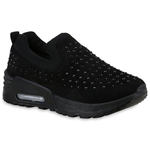 Damen Sportschuhe Slipper Slip-ons Runners Sneakers Laufschuhe Schwarz