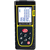GEZICHTA Portable Distance Measure Device, 40M Practical Handheld Distance Meter Digital Measure Tool Range Finder with Large Backlit LCD 4 Lines Display for Distance, Area and Volume