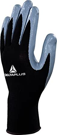Delta Plus VE712GR09 Polyester Feinstrickhandschuhe, Handfläche Nitril, Schwarz-Grau, 09, 1 Paar