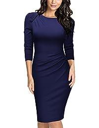 Miusol Damen Abendkleid Rundhals Elegant Kleid 3/4 Arm Etuikleid Cocktailkleid Blau Gr.S-XXL