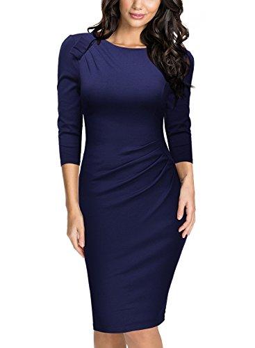 Miusol Damen Abendkleid Rundhals Elegant Kleid 3/4 Arm Etuikleid Cocktailkleid Blau Gr.M