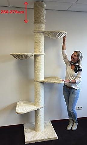 Kratzbaum große katze XXL Maine Coon Tower Creme Deckenhöhe 250-275cm mit 20cmØ Stämme. Katzenkratzbaum speziell für schwere Katzen. Deckenhoch. Von RHRQuality