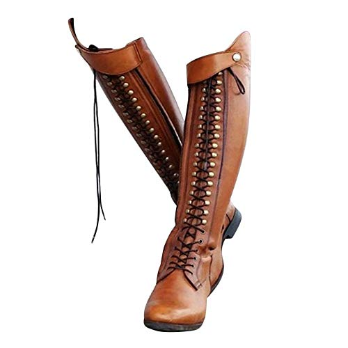 Zhaolina888 Reitstiefel Damen Leder Lange Kniehohe Reitsport Harness Stiefel