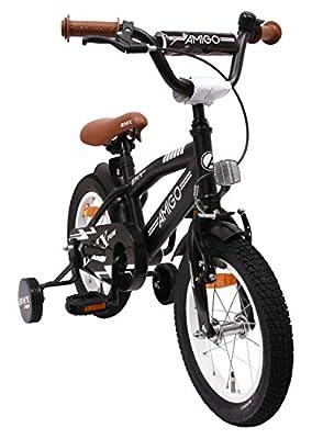 amiGO BMX Fun - Kinderfahrrad - 14 Zoll - Jungen - mit Rücktritt und Stützräder - ab 3 Jahre - Schwarz