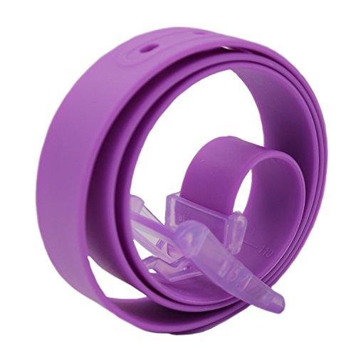 MESHIKAIER Unisex Gürtel aus Silikon Casual Gürtel Damen Herren Silikon Gürtel + Kunststoff Schnalle (Lila) - Lila Herren Gürtel Schnalle
