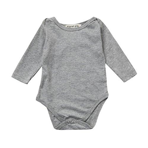 Strampler Janly 0-18 Monate Neugeborenen Kleinkind Infant Baby Jungen Mädchen Plain Flügel Overall Langarmshirts (0-3 Monate, Grau) (Lila Bekleidung Infant)