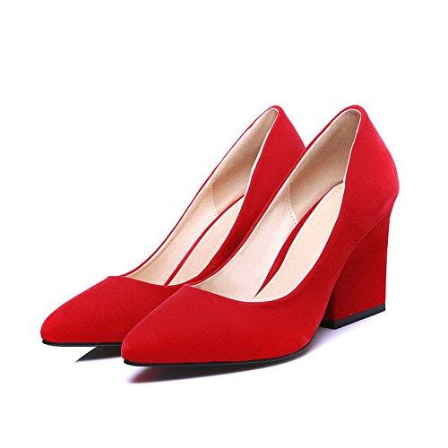 VogueZone009 Femme Tire Fermeture D'Orteil Pointu à Talon Haut Suédé Couleur Unie Chaussures Légeres Rouge