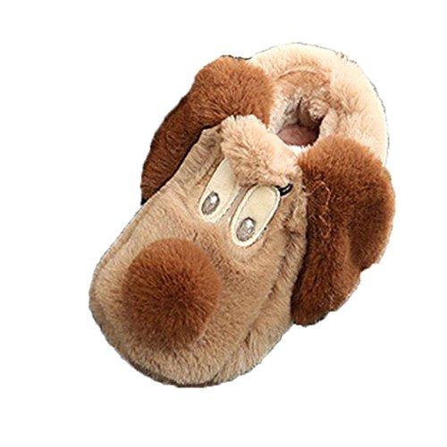 Babyschuhe Jamicy® Winter Kinder Herde Gummi Hausschuhe Jungen Mädchen Baumwolle Schafe Kinder Indoor Warme Schuhe (24-36 Monate, Braun) (Schaf-leder-schuhe)