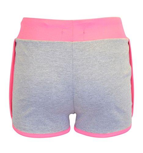 Damen New York 88 Druck Kordelzug Hot Pants Läufer Shorts Kurze Hose Grau