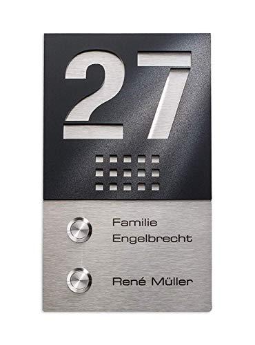Funkklingel Edelstahl Mehrfamilien-Türklingel mit 2 Sendern – 2 Funk-Gongs – Gravur – hohe Reichweite - Aufputz-Montage