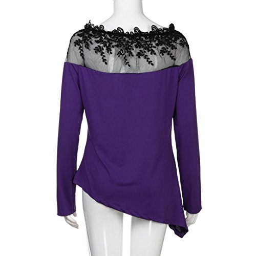 HUHU833 Tee Shirt Femme Casual Couture de Dentelle Grande Taille à Manches Longues Mode Chemise Tops Chic Sweater Tee-Shirt Blouse Violet