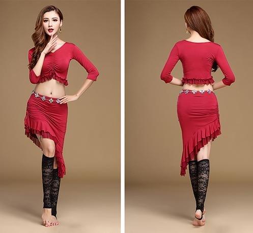 Femme blouse de danse du ventre et jupe costumes / 2 pièces / formation de danse du ventre Red