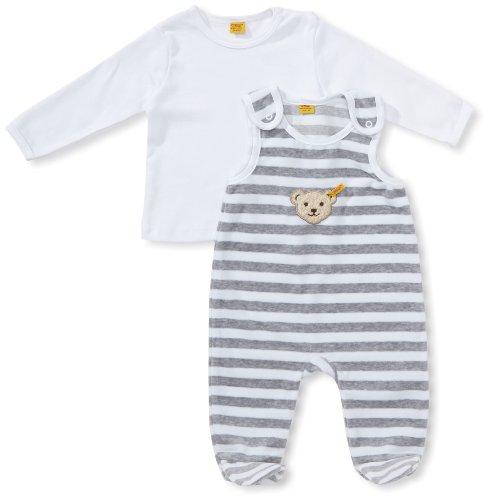 Steiff Unisex - Baby Bekleidungsset, gestreift Classics Nicky 0002855, Gr. 68, Grau (softgrey 8200)