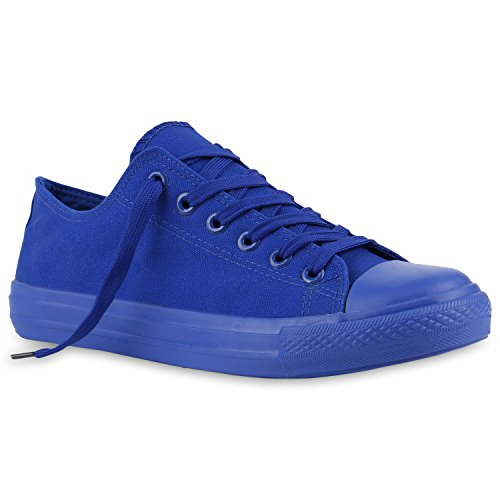 Sportliche Herren Sneakers Low Turnschuhe Textil Schuhe Flats Blau Blau