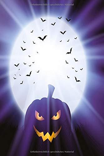 Kürbis im lila Mondlicht Notizbuch: Schauriges Halloween Notizbuch