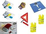 Kit auto sicurezza 8pezzi: 2Gilet Giallo En471+ 1triangolo di segnalazione + 2etilometri NF + 1paio di guanti in pelle + 1disco di parcheggio + 1lampada LED a dinamo
