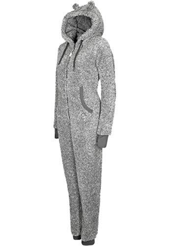 Eight2Nine Damen Jumpsuit aus kuscheligem Teddy Fleece | Overall | Ganzkörperanzug mit Ohren Dark-Grey L/XL - 4